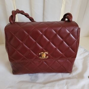 Vintage Chanel Flap Bag Burgundy Quilted Leather